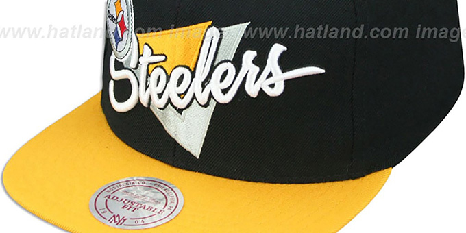 Steelers 'TRIANGLE-SCRIPT SNAPBACK' Black-Gold Hat by Mitchell and Ness