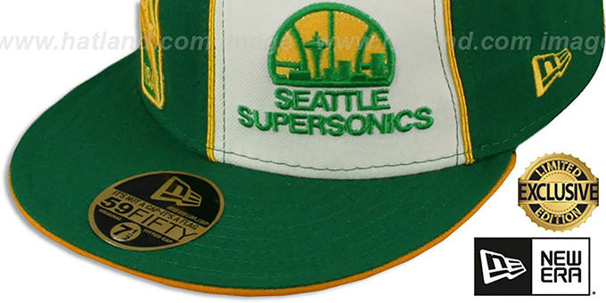 Supersonics 'LOGOMAN DOUBLE WHAMMY' Kelly-White Fitted Hat