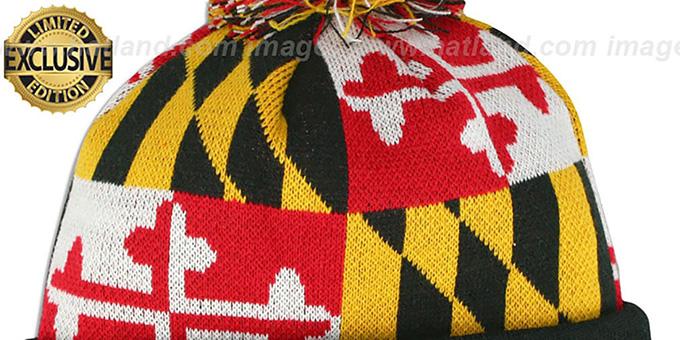 143b32ecd67 ... Terps  TURTLE MARYLAND-FLAG POM-POM  Knit Beanie Hat by New Era