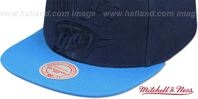 san francisco 81be6 6d3b6 ... Thunder  CROPPED SATIN SNAPBACK  Navy-Blue Adjustable Hat by Mitchell  and Ness