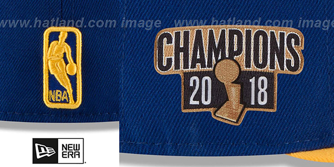 Warriors '2018 FINALS CHAMPIONS' Royal-Gold Fitted Hat by New Era
