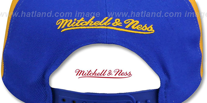 Warriors 'AJD SNAPBACK' Royal-White-Gold Adjustable Hat by Mitchell and Ness
