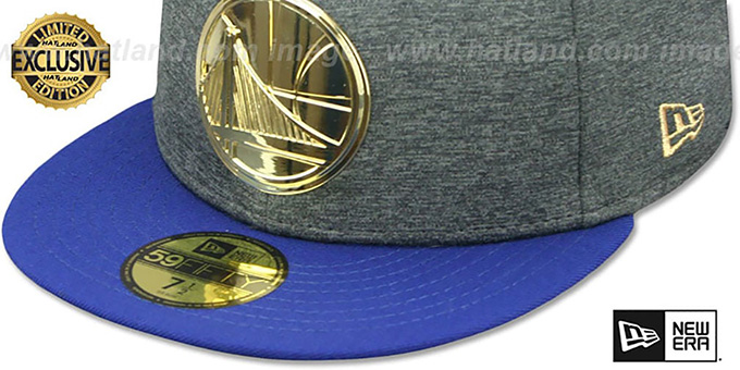 Warriors 'GOLD METAL-BADGE' Shadow Tech-Royal Fitted Hat by New Era