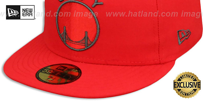 Warriors 'HWC NBA TEAM-BASIC' Fire Red-Charcoal Fitted Hat by New Era