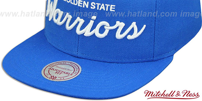Warriors 'TEAM-SCRIPT SNAPBACK' Blue Hat by Mitchell and Ness