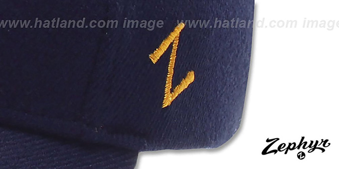 West Virginia 'DH-4' Fitted Hat by Zephyr - navy