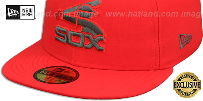 White Sox 'COOP MLB TEAM-BASIC' Fire Red-Charcoal Fitted Hat by New Era