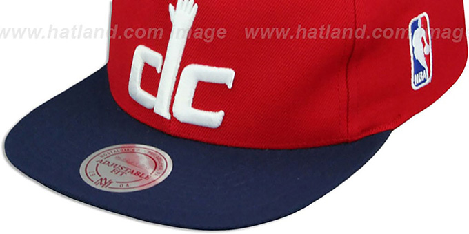 Wizards '2T XL-LOGO SNAPBACK' Red-Navy Hat by Mitchell and Ness