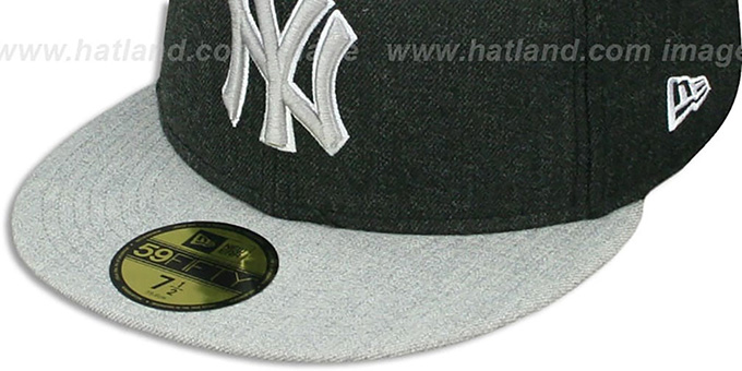Yankees '2T-HEATHER ACTION' Charcoal-Grey Fitted Hat by New Era