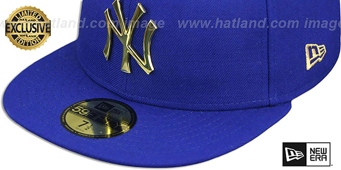 ... Yankees  GOLD METAL-BADGE  Royal Fitted Hat by New Era b9a33eb4c2d
