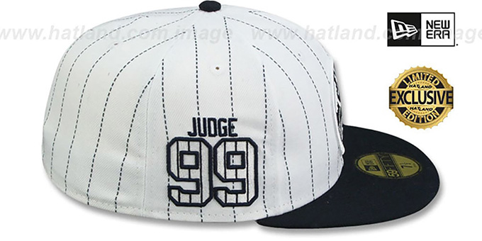 Yankees 'JUDGE PINSTRIPE ALL RISE FRONT' White-Navy Fitted Hat by New Era