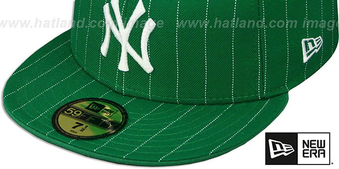 Yankees 'PINSTRIPE' Green-White Fitted Hat by New Era
