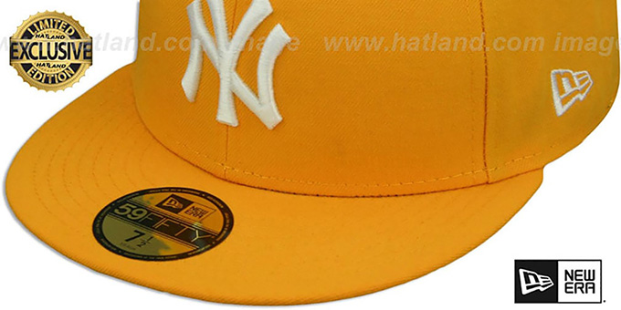 Yankees 'TEAM-BASIC' Gold-White Fitted Hat by New Era