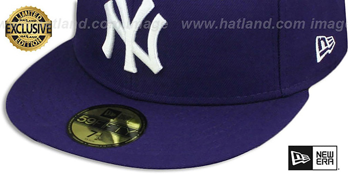 Yankees 'TEAM-BASIC' Purple-White Fitted Hat by New Era