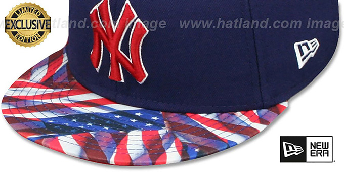 Yankees 'USA WAVING-FLAG' Navy Fitted Hat by New Era